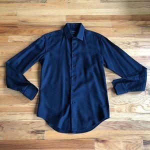 ZARA Black Slim Fit Textured Button Down Shirt M